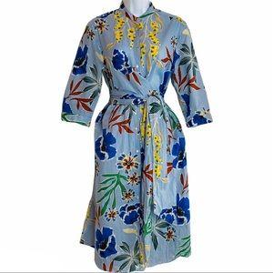 Zara Floral & Stripe Print Wrap Dress w Waist Ties